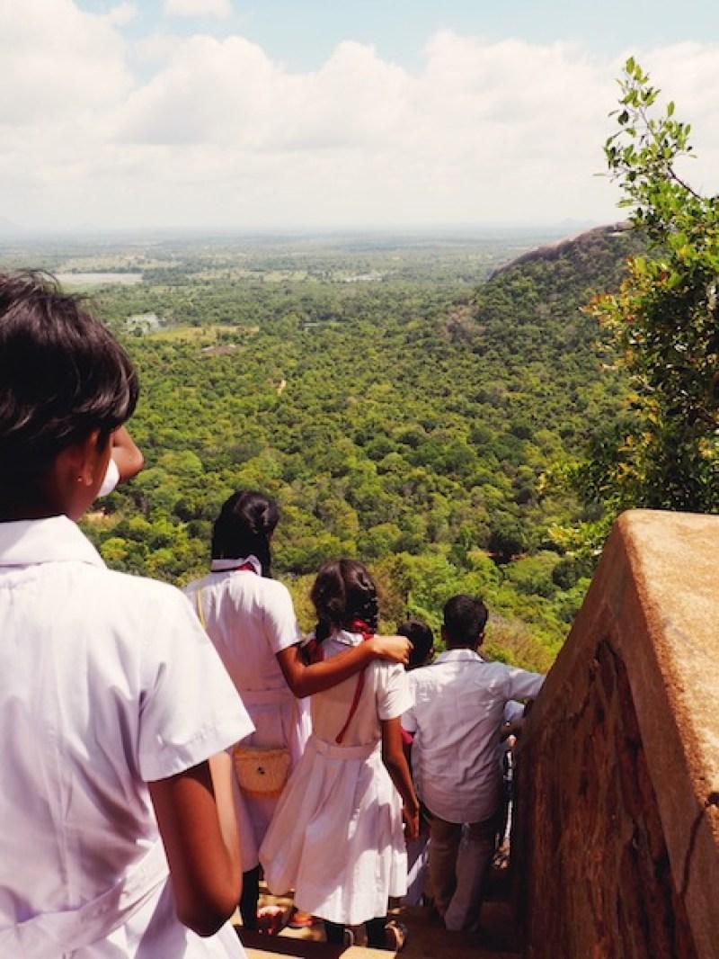 School children climbing Sigiriya