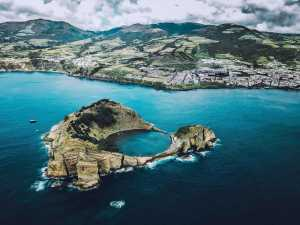 A beautiful areal view of the Azores in Portugal.