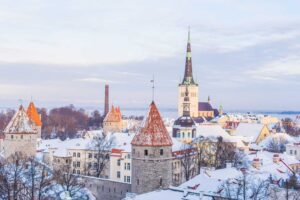 The beauty of Tallinn, Estonia in the winter.