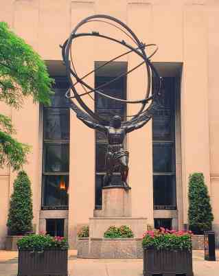 The iconic beauty of the Atlas Statue along Fifth Avenue.