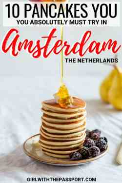 One of my favorite aspects of Amsterdam travel is trying all the delicious local foods! From Dutch pancakes to Stroopwafels, Amsterdam has so much delicious food that is the perfect destination for any foodie traveler. But one of my favorite Amsterdam things to do is try all the delicious pancakes that can be found throughout this city. So check out ten of the best pancakes in all of Amsterdam. #Netherlands #Amsterdam #foodie #travel