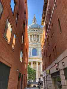 A perfect peek-a-boo shot of St. Paul's Cathedral from Canon Alley.