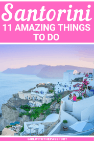 Not sure what to see in Santorini Greece when you visit? Then check out this guide to 11 of the most mesmerizingly beautiful attractions in Santorini. Between the Oia sunsets, the Santorini salads, and the hike from Fera to Oia, you definitely won't run out of things to do in Santorini. #SantoriniGreece #Santorinitravel #Greekislands #Greekislandhopping #Santoriniitinerary