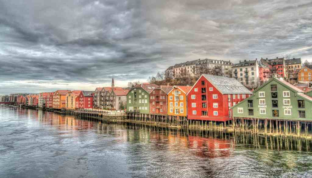 The charming beauty of the vibrantly colored row houses that you'll find in Trondheim, Norway.