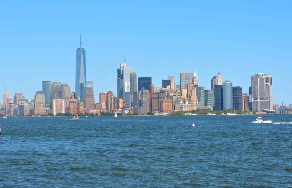 The beautiful view of the New York City skyline, from the water.
