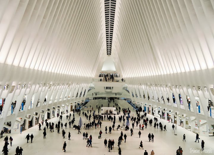 The beauty of the interior of the Oculus in the evening.