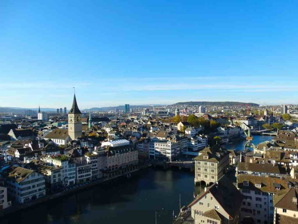 An aerial view of Zurich's beautiful town center.