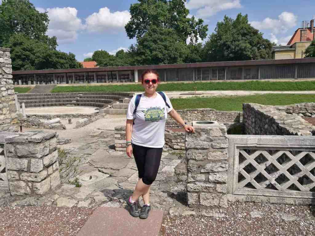 Cris exploring the Aquincum in Budapest.