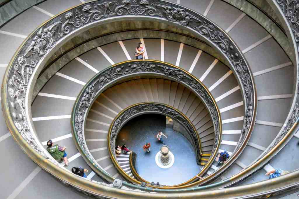 The iconic staircase at the Vatican Museums in Rome.