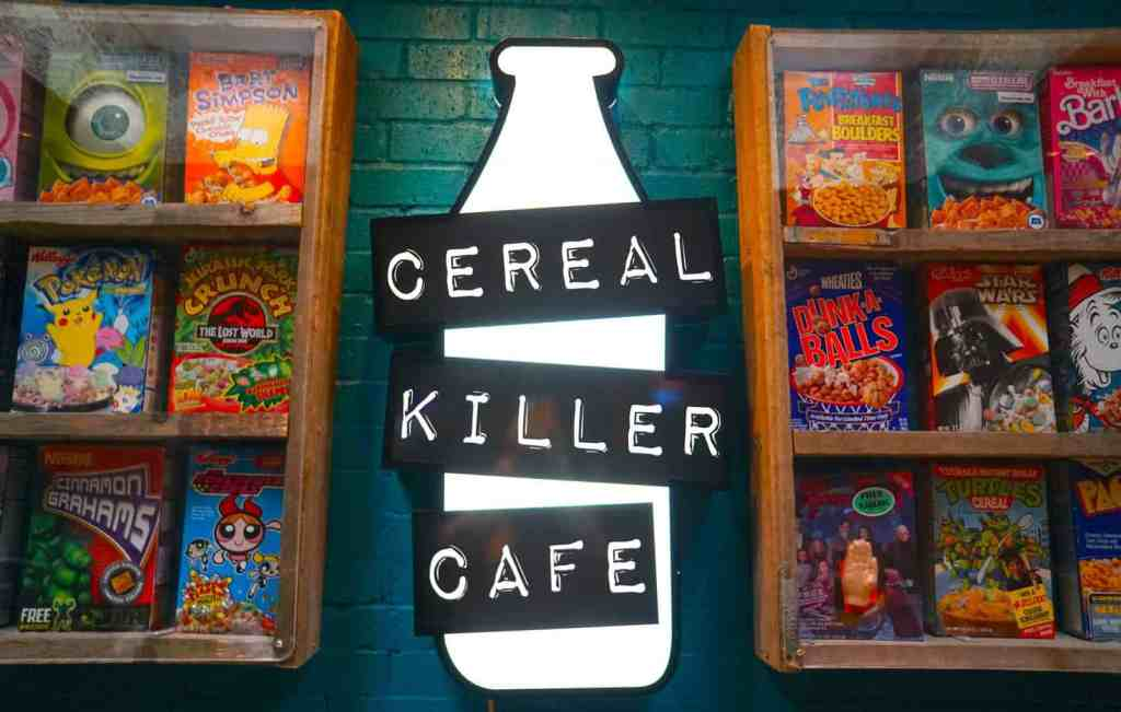 Cereal Killer Cafe is a fun and quirky, 90's themed cafe that is located in the eclectic, London neighborhood of Shoreditch.