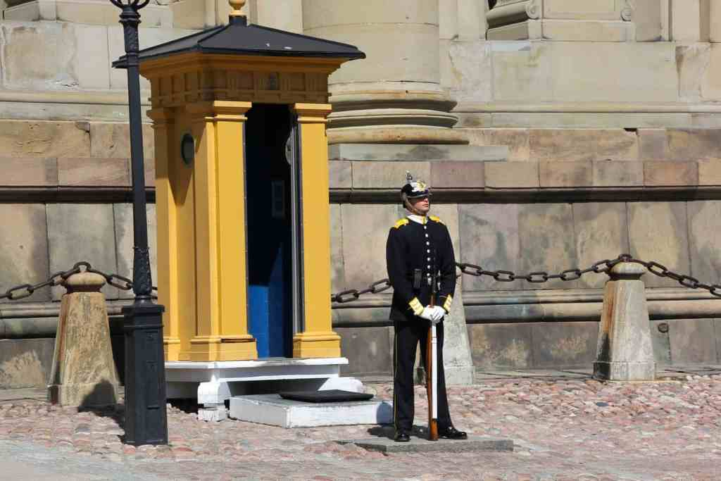 A guard standing outside the Royal Palace.