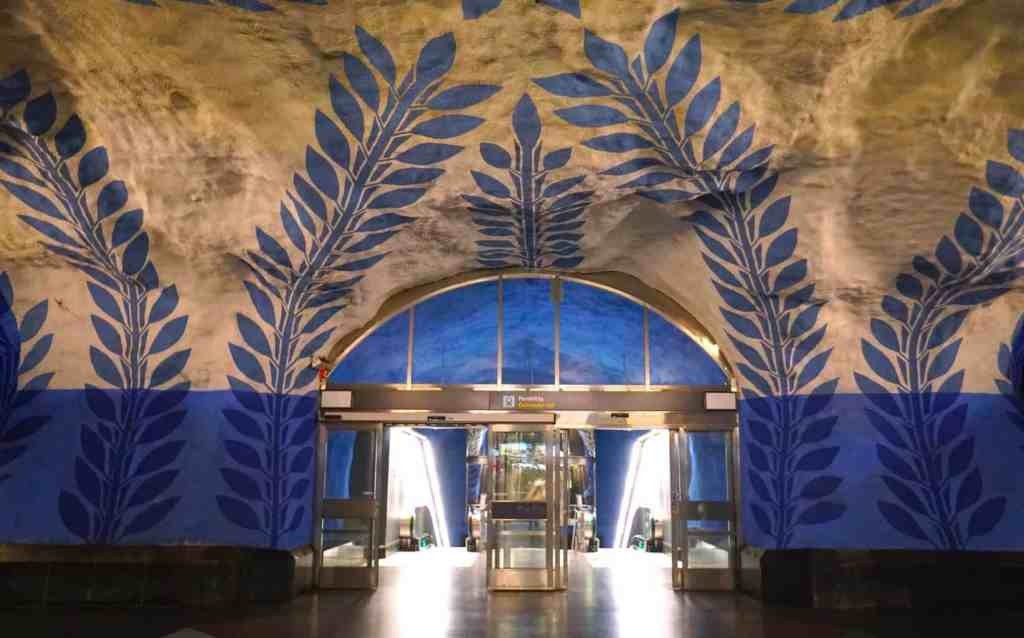 Some of the beautiful art you'll find in Stockholm's many metro stations.
