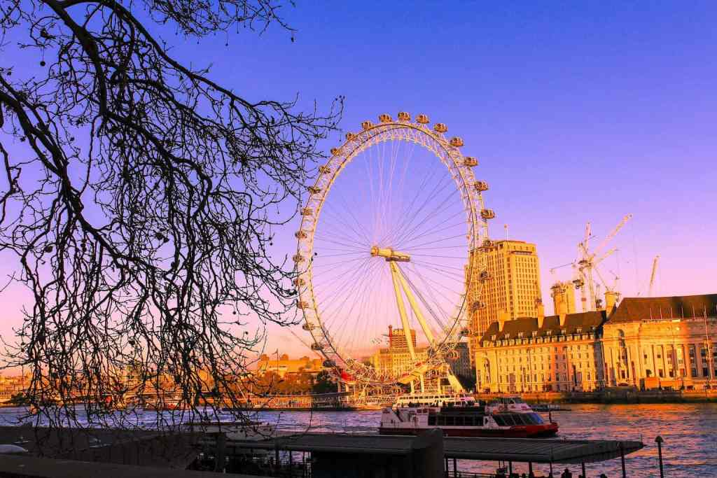 A view of the London Eye from across the Thames, along the river at Victoria Tower Gardens.