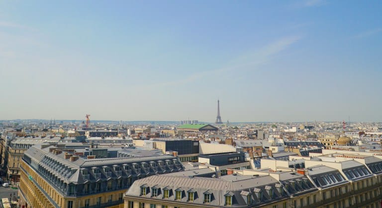 The beautiful view of Paris from the rooftop bar at Galeries Lafayette.