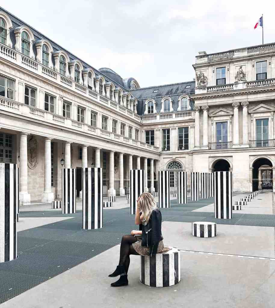 The beauty of Deniel Buren's black and white columns, which are found throughout Jardin du Palais Royal.