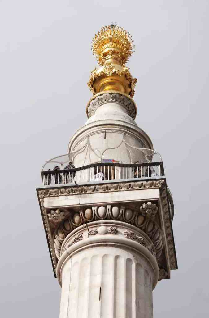 The Monument to the Great Fire of London is a fantastic to visit as you solo travel London.