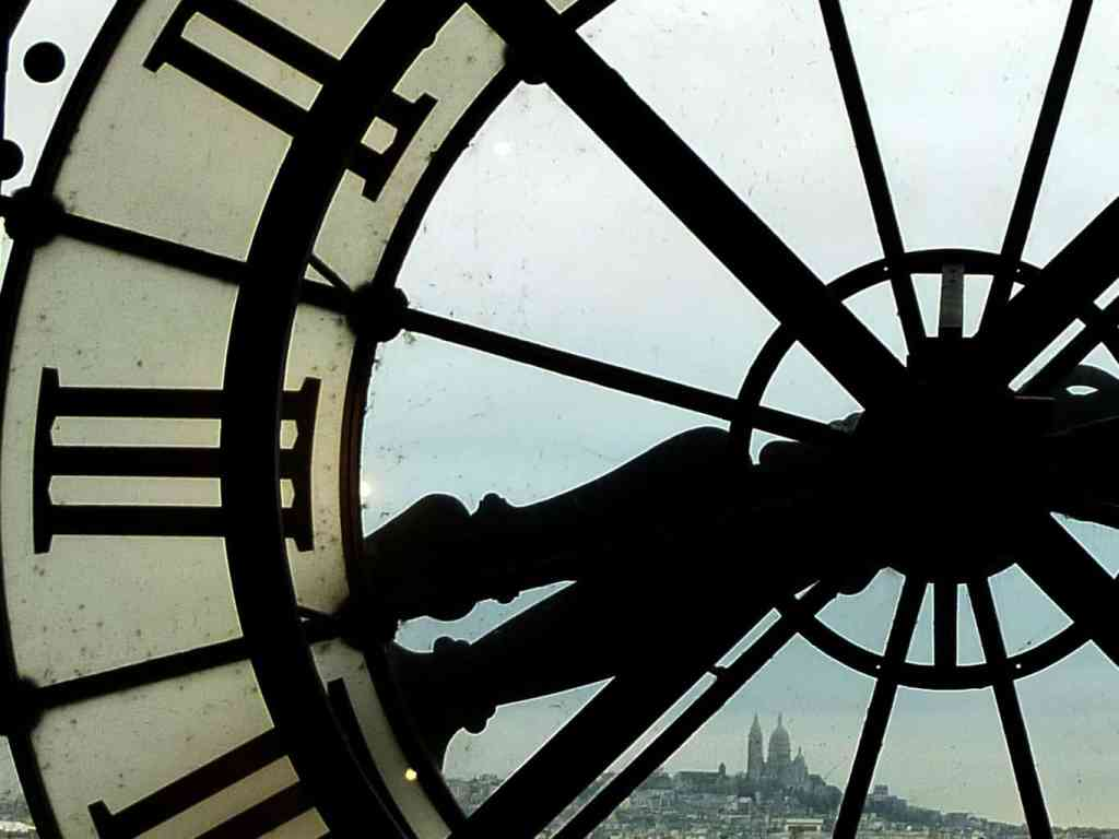 The beautiful view from the clock on the top floor of the Musee D'Orsay.