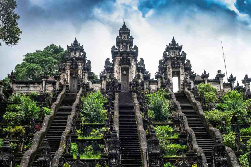 The incredibly high steps that you'll find at Pura Lempuyang Luhur temple in Bali.