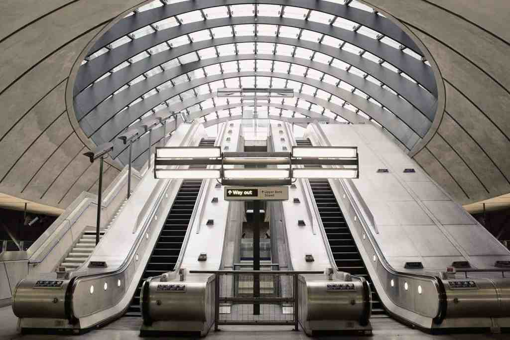 The other-worldly escalators at Canary Wharf.