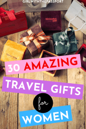 Check out these 30 amazing travel gift ideas for women. These gifts are not only super fun but they are also practical and will help make traveling A LOT easier! Use these fantastic items to stay organized, look stylish, and have more fun while you travel. #GiftIdeas #TravelGifts #TravelLovers #GiftList