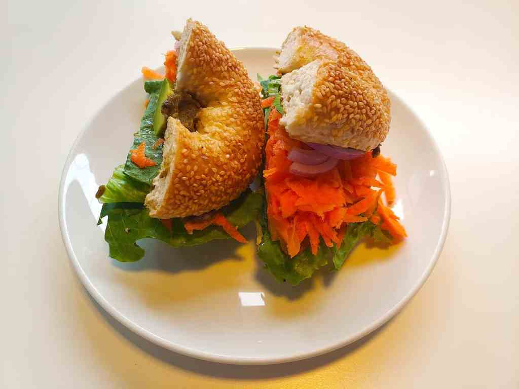 "The aptly named, ""Veggie Monger"" sandwich from BKK Bagel Bakery in Bangkok."