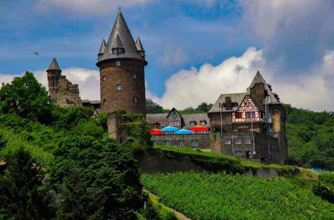 The historic beauty of Stahleck Castle in Bacharach, Germany.