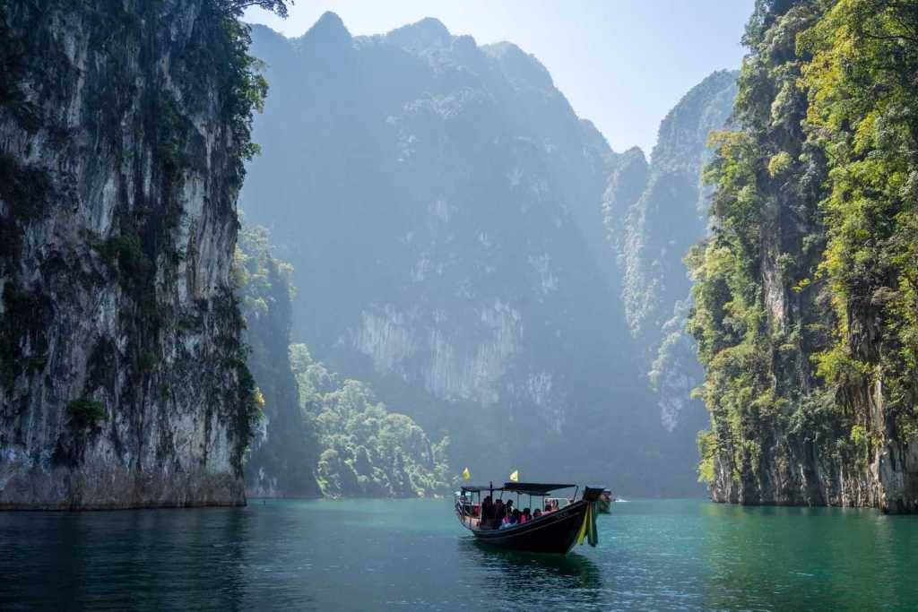 The beautiful natural landscape of Khao Sok National Park in Khlong Sok, Thailand