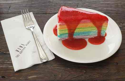 If you stop by Vivi the Coffee Place while in Bangkok, be sure to get their rainbow crepe cake with fresh strawberry sauce. SOO GOOD!