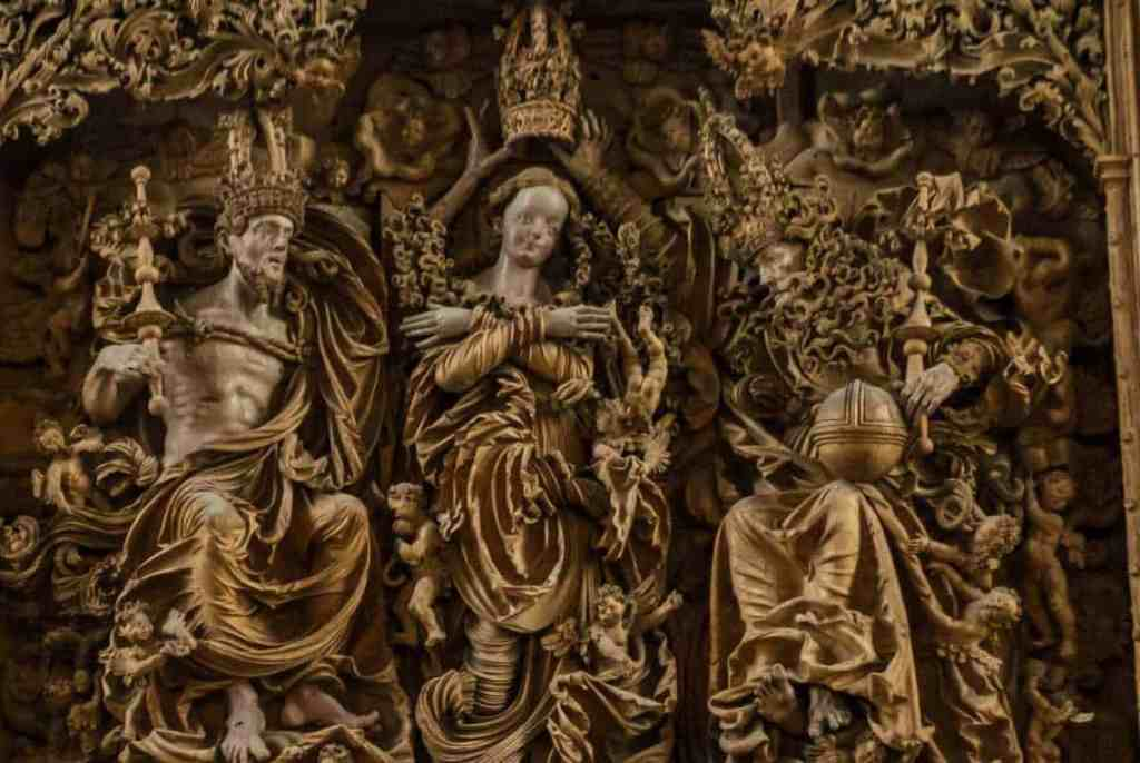 The magnificent, hand-carved, wooden altarpiece that you'll find inside of St. Stephen's Cathedral in Breisach, Germany.