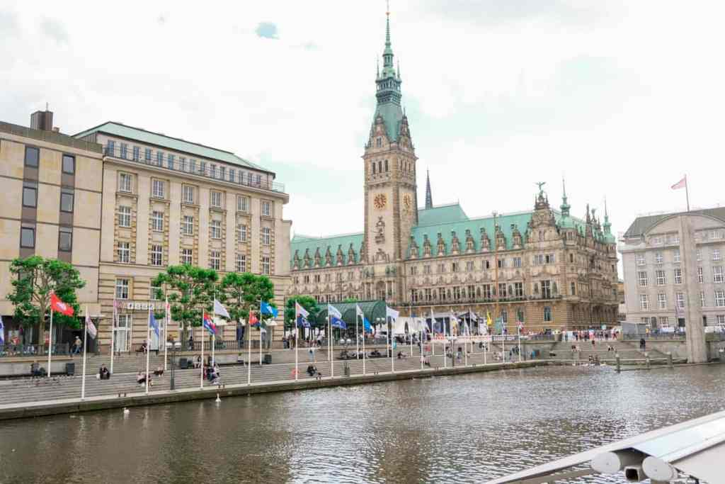Hamburg Germany's historic, canal-side architecture.