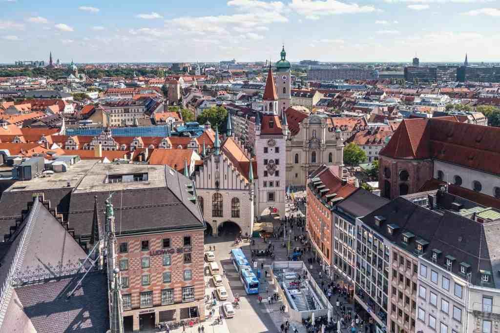 The beautiful Marienplatz in Munich, Germany.