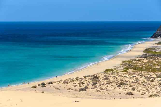 An aerial view of Sotavento Beach in Fuerteventura, Canary Islands, Spain