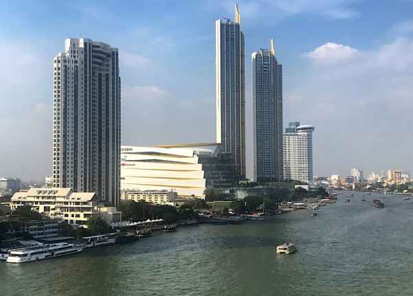The beautiful view of the Chao Phraya River from the Shangri-La Hotel in Bangkok.