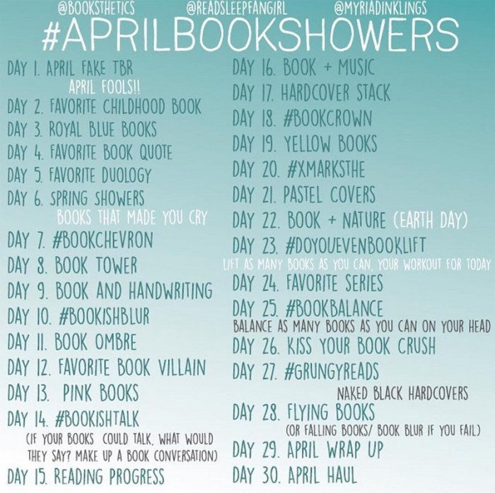 aprilbookshowers bookstagram