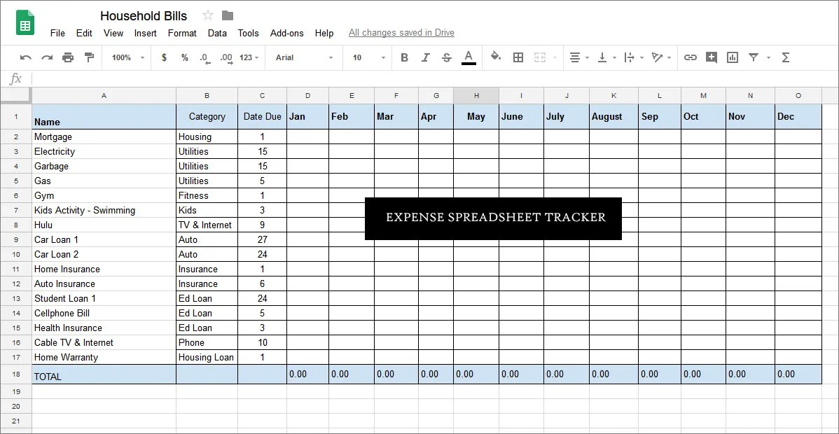 Expense Spreadsheet Tracker