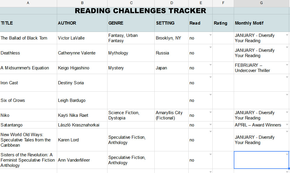 reading challenges tracker tab