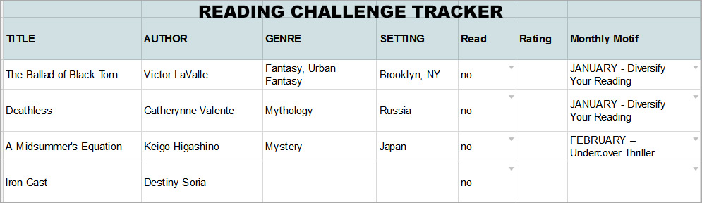 Example Reading Challenge Tracker
