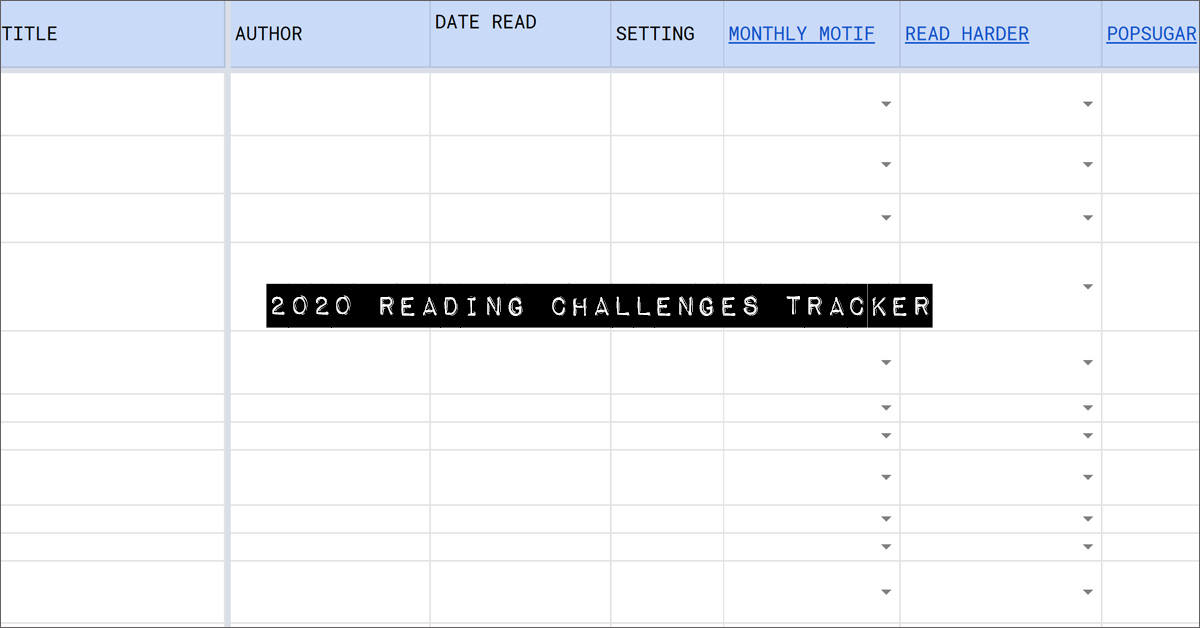 2020 reading challenges tracker