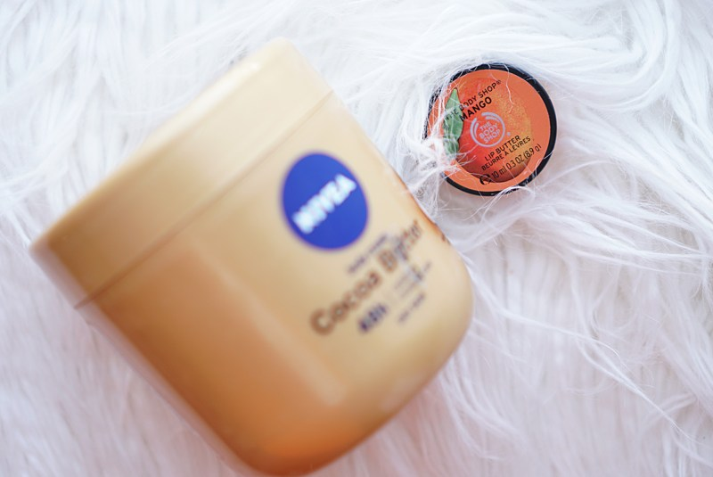 Nivea and Body Shop Lip Butter