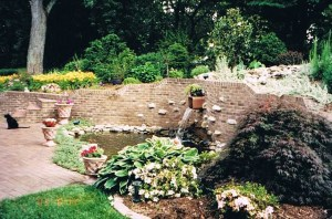 Past Work a Brick Stonework Pond Water feature by Girmann's