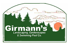 Girmann's Logo Mountain Waterfall below Treeline Silhouette at Sunset with Company Information