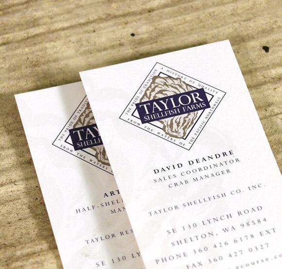 Taylor Shellfish Business Cards