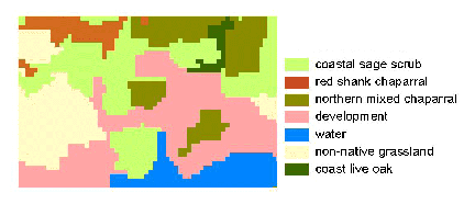 Raster data showing vegetation classification. The vegetation data was derived from NDVI classification of a satellite image.