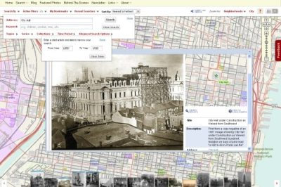 The PhillyHistory.org map-based search page emphasizes the geographic information available for many of the images.