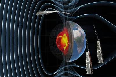 A constellation of three satellites form the Swarm Earth Explorer mission. Swarm will identify and measure the magnetic signals that stem from Earth's core, mantle, crust, oceans, ionosphere and magnetosphere – all of which create the magnetic field that protects our planet. This information will provide insight into processes occurring deep inside the planet and yield a better understanding of the near-Earth electromagnetic environment and the impact solar wind has on Earth. Credits: ESA/AOES Medialab