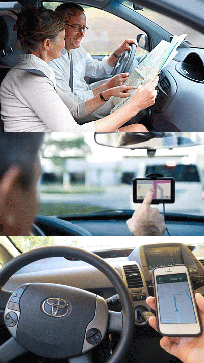 Checking a paper map or fiddling with an in car navigation device is okay, but holding a smartphone with a navigation app running is illegal in California.