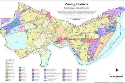 GIS is commonly used in urban planning to assists with land use planning and development zoning maps. Zoning map from the City of Cambridge, MA.