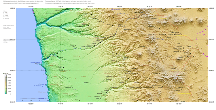 Map of Chile generated with topography from SRTM.