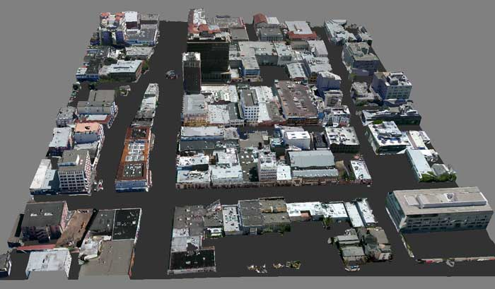 View of a section of Berkeley, California from the Fast 3D City Model Generation, Christian Früh.