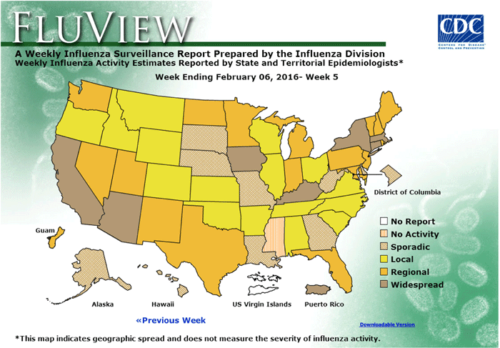 Weekly Influenza Map. Map: CDC